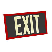 Single Face - Photoluminescent Exit Sign - Black - Red Frame - 100 ft. Viewing Distance - 20 Year Effective Life - Fulham FLPL10-S-B-R