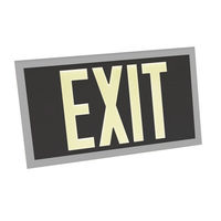 Single Face - Photoluminescent Exit Sign - Black - Silver Frame - 100 ft. Viewing Distance - 20 Year Effective Life - Fulham FLPL10-S-B-S