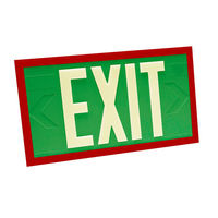 Single Face - Photoluminescent Exit Sign - Green - Red Frame - 100 ft. Viewing Distance - 20 Year Effective Life - Fulham FLPL10-S-G-R