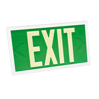 Single Face - Photoluminescent Exit Sign - Green - White Frame - 100 ft. Viewing Distance - 20 Year Effective Life - Fulham FLPL10-S-G-W