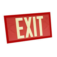 Single Face - Photoluminescent Exit Sign - Red - Red Frame - 100 ft. Viewing Distance - 20 Year Effective Life - Fulham FLPL10-S-R-R