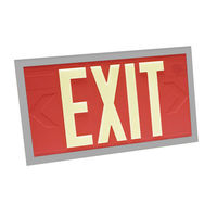 Single Face - Photoluminescent Exit Sign - Red - Silver Frame - 100 ft. Viewing Distance - 20 Year Effective Life - Fulham FLPL10-S-R-S
