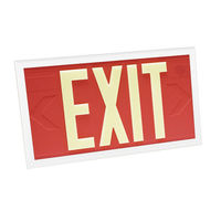 Single Face - Photoluminescent Exit Sign - Red - White Frame - 100 ft. Viewing Distance - 20 Year Effective Life - Fulham FLPL10-S-R-W