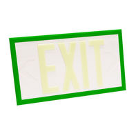 Single Face - Photoluminescent Exit Sign - White - Green Frame - 100 ft. Viewing Distance - 20 Year Effective Life - Fulham FLPL10-S-W-G