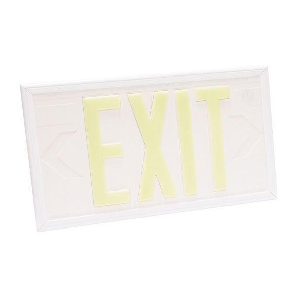 Single Face - Photoluminescent Exit Sign - White Image