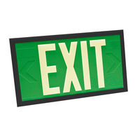Double Face - Photoluminescent Exit Sign - Green - Black Frame - 100 ft. Viewing Distance - 20 Year Effective Life - Fulham FLPL10-D-G-B