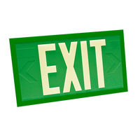 Double Face - Photoluminescent Exit Sign - Green - Green Frame - 100 ft. Viewing Distance - 20 Year Effective Life - Fulham FLPL10-D-G-G