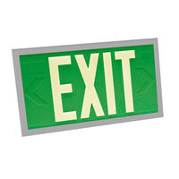 Double Face - Photoluminescent Exit Sign - Green - Silver Frame - 100 ft. Viewing Distance - 20 Year Effective Life - Fulham FLPL10-D-G-S