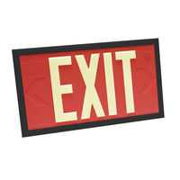 Double Face - Photoluminescent Exit Sign - Red - Black Frame - 100 ft. Viewing Distance - 20 Year Effective Life - Fulham FLPL10-D-R-B