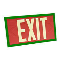 Double Face - Photoluminescent Exit Sign - Red - Green Frame - 100 ft. Viewing Distance - 20 Year Effective Life - Fulham FLPL10-D-R-G