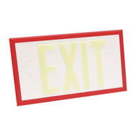 Double Face - Photoluminescent Exit Sign - White - Red Frame - 100 ft. Viewing Distance - 20 Year Effective Life - Fulham FLPL10-D-W-R