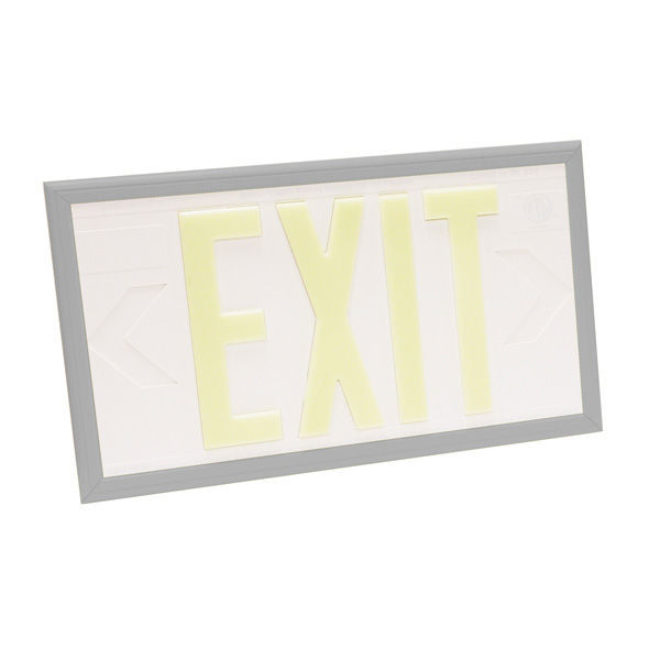 Double Face - Photoluminescent Exit Sign - White Image