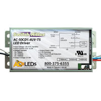 LED Driver - Operates 25-50 Watts - 25-36V Output - 700-1400mA Output Current with Switch Option - Dimmable - 120-277V Input -  Works With Constant Current Products Only