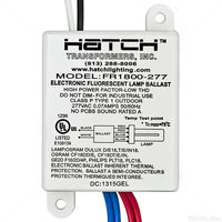 Hatch FR1800-277L - (1) Lamp - 18 Watt CFL - 277 Volt - Preheat Start - 0.99 Ballast Factor