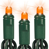 25 ft. LED String Lights - (50) Multi-Directional LED's - Amber-Orange  - 6 in. Bulb Spacing - Green Wire - Commercial Duty - 60 Set Max. Connection - Male to Female Connection - 120 Volt - HLS 505R-6GOR