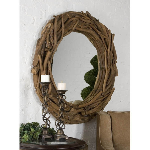 Uttermost 05024 - Round Teak Wood Wall Mirror Image