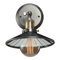 Industrial Wall Sconce - 1 Light - Pewter Finish - Mirrored Shade