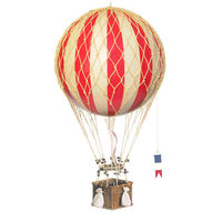 28 in. Height - True Red Jules Verne Balloon - Hot Air Balloon Model - Features Hand-Knotted Netting and Rattan Basket - Authentic Models AP168R