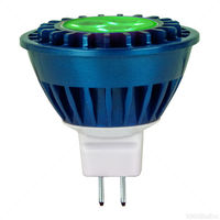 230 Lumens - Green - LED MR16 - 4 Watt - 20W Equal - 60 Deg. Wide Flood - CRI 84 - 12V - GU5.3 Base