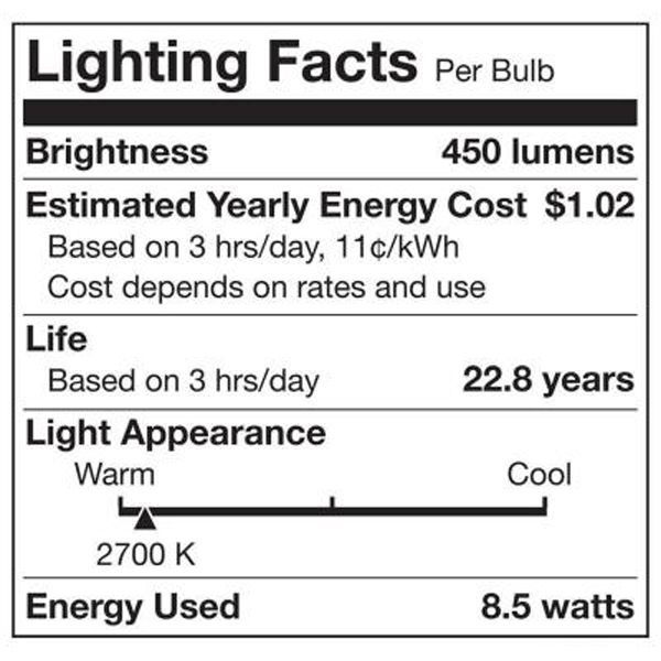 LED - A19 - 8.5 Watt - 40W Incandescent Equal Image