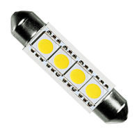 LED Festoon Bulb - 0.5 Watt - T3 Replacement - 5000K Stark White - 60 Lumens - 12 Volt DC Only