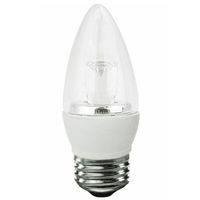300 Lumens - 5W - 40W Equal - LED Chandelier Bulb - 3000 Kelvin - Clear - Straight Tip - Medium Base - Dimmable - 120V - TCP LED5E26B1130K