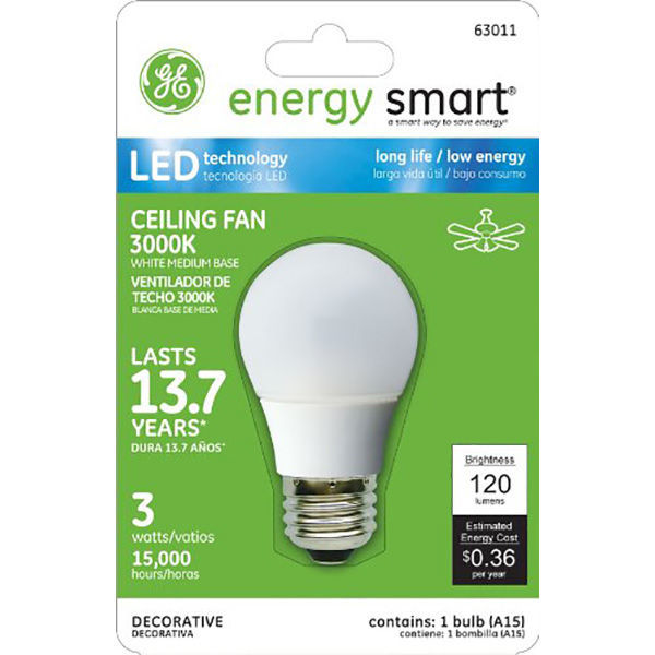 LED - 3 Watt - A15 - 20 Watt Equal - White - Ceiling Fan Bulb Image