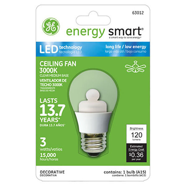 LED - 3 Watt - A15 - 20 Watt Equal - Clear - Ceiling Fan Bulb Image