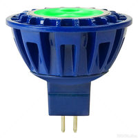 230 Lumens - Green - LED MR16 - 4 Watt - 20W Equal - 30 Deg. Flood - CRI 85 - 8-25V - GU5.3 Base