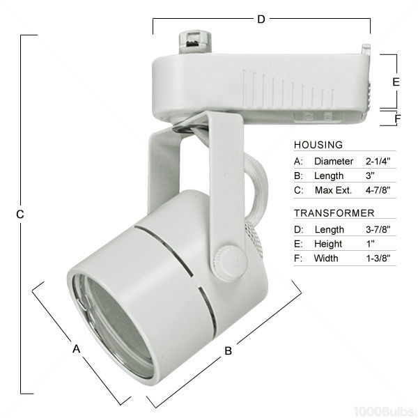 PLT PTL203W - Cylinder Low Voltage Track Fixture - White Image