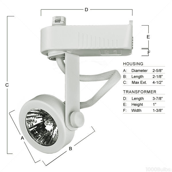 PLT PTL207W - Gimbal Ring Low Voltage Track Fixture - White Image