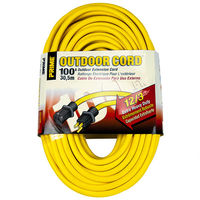 100 ft. - Heavy Duty Extension Cord - 12 AWG - 3-Prong Grounded Plug - 15 Amp - 1875 Max. Wattage - 125 Volt - Yellow - PWC C02589