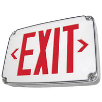 Single Face - LED Exit Sign - Wet Location - Red Letters - 120/277 Volt and Battery Backup - White - Exitronix VEX-WP-1-WB-WH