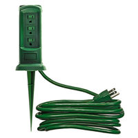 Outdoor Power Outlet Yard Stake - 3 Grounded Outlets - 12 ft. Power Cord - 13 Amp - 1,625 Max. Wattage - Green