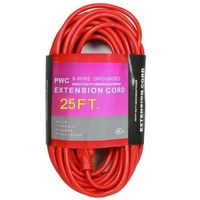 25 ft. - Heavy Duty Extension Cord - 14 AWG - 3-Prong Grounded Plug - 15 Amp - 1875 Max. Wattage - 125 Volt - Orange - PWC C02407