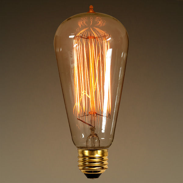 Antique Light Bulb Edison Style Amber Glass