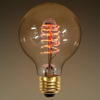 25 Watt - G25 Globe - Vintage Antique Light Bulb - 2.87 in. Diameter - Spiral Filament - Multiple Supports - Clear