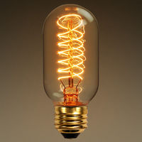 40 Watt - Vintage Antique Light Bulb - Radio Style - 4.3 in. Length - Tungsten Filament - Multiple Supports - Clear