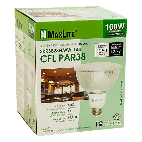 PAR38 CFL - 23 Watt - 100W Equal - 2700K Warm White Image