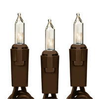 26 ft. String Lights - (50) Mini Lights - CLEAR - 6 in. Bulb Spacing - Brown Wire - Commercial Duty - 10 Set Max. Connection - 120V