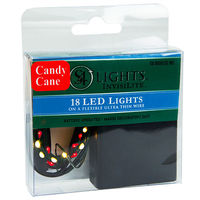 5.6 ft. Lighted Length Stringer - (18) Tear Drop LEDs - 4 in. Spacing - RED and WHITE - Ultra Thin Green Wire - Battery Operated