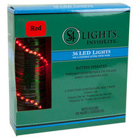 12 ft. Invisilite Wire Lights - (36) Tear Drop LEDs - 4 in. Spacing - RED - Ultra Thin Green Wire - Battery Operated with Timer