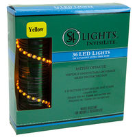 12 ft. Invisilite Wire Lights - (36) Tear Drop LEDs - 4 in. Spacing - YELLOW - Ultra Thin Green Wire - Battery Operated with Timer