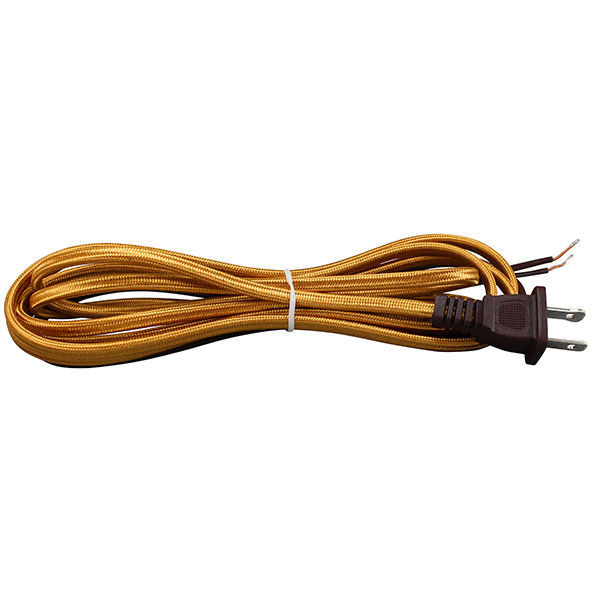 Rayon Covered Lamp Cord Set - Gold - 8 ft. Image
