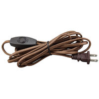Rayon Covered Lamp Cord Set - Brown - 12 ft. - SPT-1 - Toggle Switch - PLT 56-8916-45