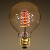 60 Watt - Vintage Light Bulb - G25 Globe - 3.15 in. Diameter - Hand-Wound Spiral Tungsten Filament - Multiple Supports - Medium Tint