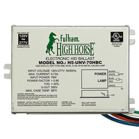 Fulham H5-UNV-70HBC - 70 Watt - Electronic Metal Halide Ballast - ANSI M98/139 - 120/277 Volt - Power Factor 95% - Bottom Lead Mounting