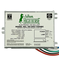 Fulham H6-UNV-100HBC - 100 Watt - Electronic Metal Halide Ballast - ANSI M90/140 - 120/277 Volt - Power Factor 95% - Bottom Lead Mounting