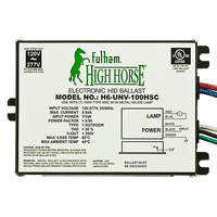 Fulham H6-UNV-100HSC - 100 Watt - Electronic Metal Halide Ballast - ANSI M90/140 - 120/277 Volt - Power Factor 95% - Side Lead Mounting