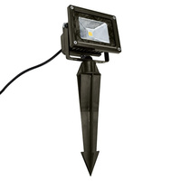 10 Watt - 50W Equal - LED Flood Light Fixture with Ground Stake - 12V  - Bronze Housing